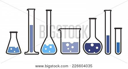 Laboratory Glassware Instruments In Blue Color Icons Set. Equipment For Chemical Lab In Flat Style.