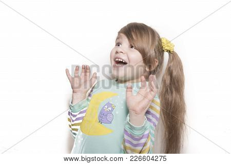 Little Emotional Girl Rejoices In Surprise Isolated On White Background For All Purposes