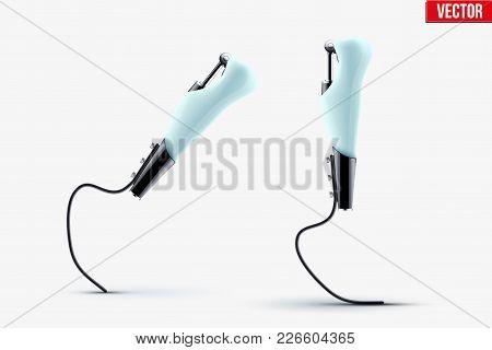 Original Modern Prosthetic Two Legs Mechanism For Runner. Paralympic Equipment. Vector Illustration