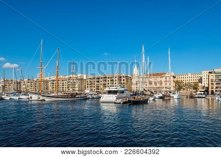 Marseille, France - December 4, 2016: Picturesque Colorful Yacht Old Vieux Port In Center Of Marseil
