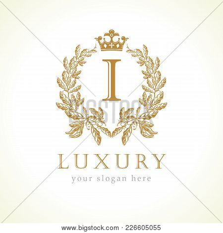 Luxury I Letter And Crown Monogram Logo. Laurel Elegant Beautiful Round Identity With Crown And Wrea