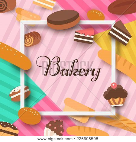 Bakery Background Vector Flat. Bread And Pastries Banner Set.