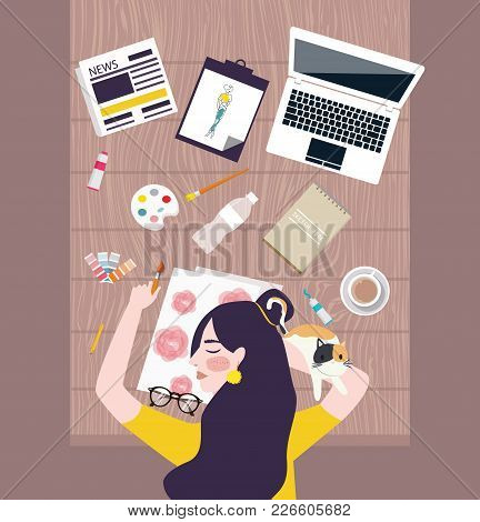 Busy Woman Designer Artist Taking A Nap On Working Table With Water Color Laptop And Stuff All Aroun