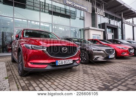 GDANSK, POLAND - FEBRUARY 13, 2018: Mazda CX-5 at the BMG Goworowski car showroom of Gdansk, Poland. Mazda CX-5 is a popular SUV car manufactured in Japan by the Mazda Motor Corporation.
