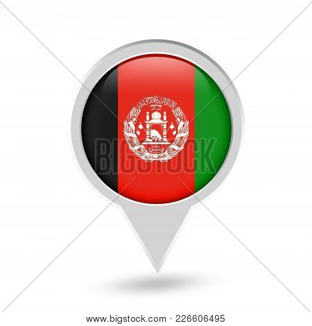 Afghanistan Flag Round Pin Icon. Vector Icon.