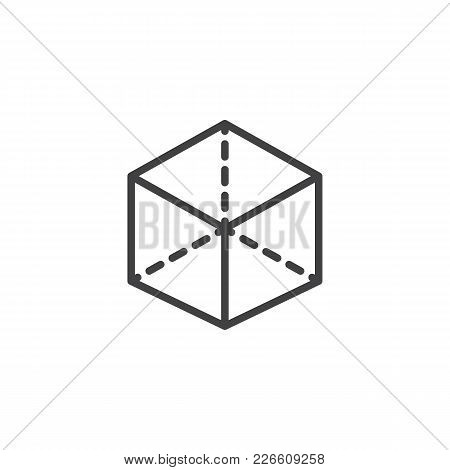 3d Cube With Projection Outline Icon. Linear Style Sign For Mobile Concept And Web Design. Box Simpl