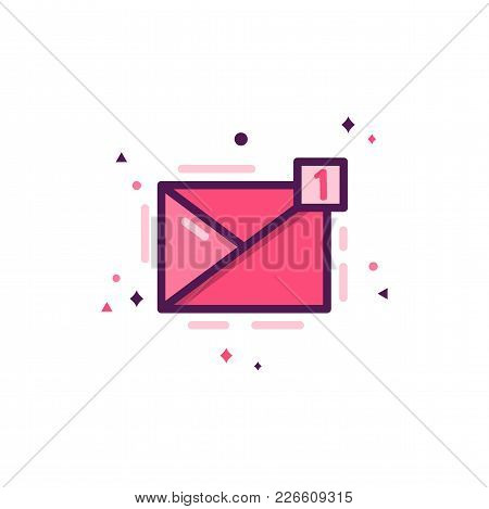Love Message Icon, Happy Valentines Day Flat Concept. Holiday Pictogram For Brochures, Flyers, Socia
