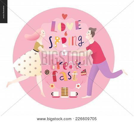 Love, Spring, Breakfast Lettering Composition And A Couple Running Towards To Each Other