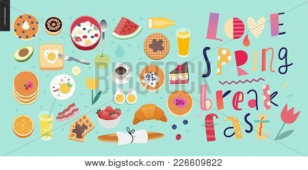 Love, Spring, Breakfast Lettering Composition And A Set Of Breakfast Meal On The Green-blue Backgrou