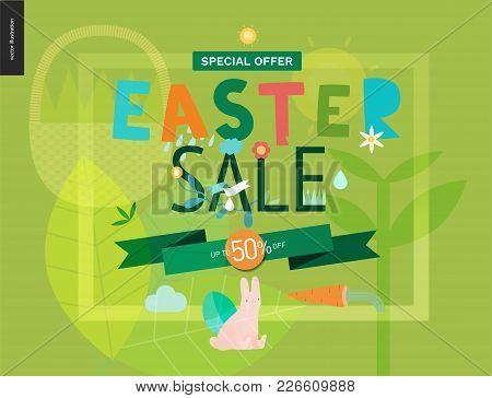 Easter Sale Poster - A Shop Announcement, Flyer, Discount Advertisement