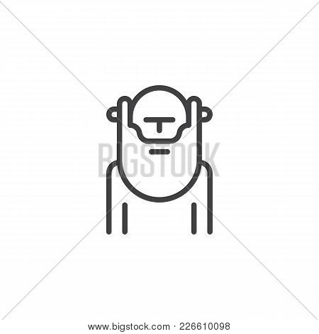 Wiseman With Beard Outline Icon. Linear Style Sign For Mobile Concept And Web Design. Wisdom Person