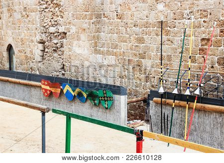 The Weapon Of The Knights' Times Is Placed On The Lists In The Fortress Of The Old City Of Acre In I