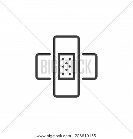 Patch Outline Icon. Linear Style Sign For Mobile Concept And Web Design. Sticky Adhesive Tape Simple