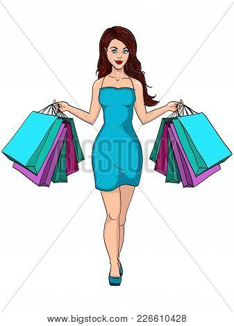 Compulsive Buying Disorder, Or Oniomania. Girl With Shopping. I Bought A Lot Of Clothes. Gift Bags.