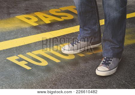 Conceptual Image Of A Young Male Person Moving Fast To The Future. Success, Leadership And Winning C