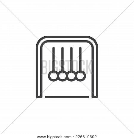 Newton Cradle Outline Icon. Linear Style Sign For Mobile Concept And Web Design. Physics Simple Line