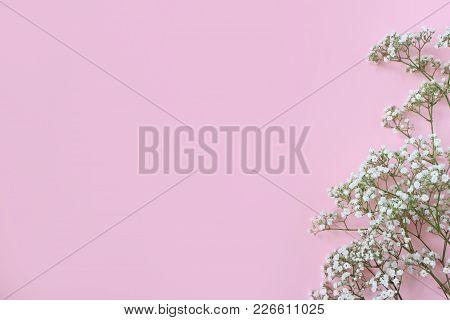 Styled Stock Photo. Feminine Wedding, Birthday Desktop Mockup With Baby's Breath Gypsophila Flowers.