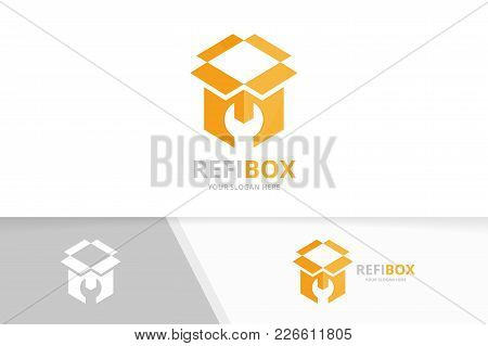 Vector Box Logo Combination. Package And Repair Symbol Or Icon. Unique Delivery And Fix Logotype Des