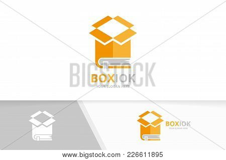 Vector Book And Box Logo Combination. Package And Market Symbol Or Icon. Unique Bookstore, Library A