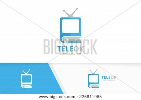Vector Book And Tv Logo Combination. Television And Market Symbol Or Icon. Unique Bookstore, Library