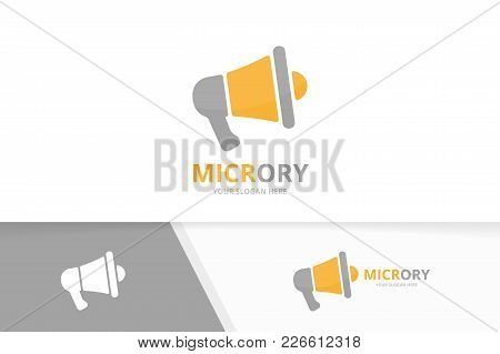 Vector Megaphone Logo Combination. Bullhorn Symbol Or Icon. Unique Announcement Logotype Design Temp