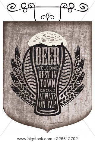 Vector Street Signboard Or A Banner For A Beer With A Wreath Of Wheat And Overflowing Beer Glass Wit