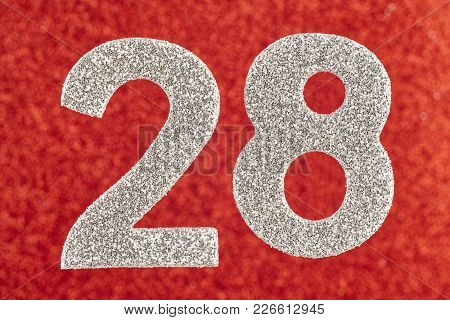 Number Twenty-eight Silver Color Over A Red Background. Anniversary. Horizontal