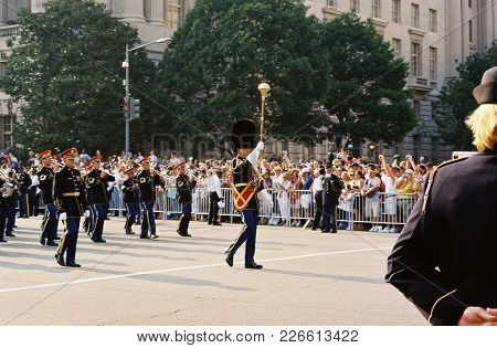 Ronald Reagan Funeral Procession Marine Corp Marching Band Drum Major On Constitution Avenue, Washin