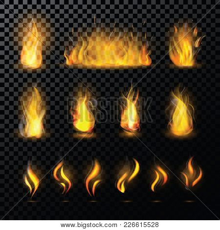 Fire Flame Vector Fired Flaming Bonfire In Fireplace And Flammable Campfire Illustration Fiery Or Fl
