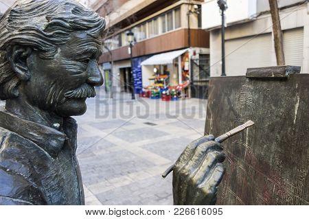 Castellon,spain-january 30,2018: Sculpture Statue Tribute To Artist Juan Jose Salas By Carlos Vento