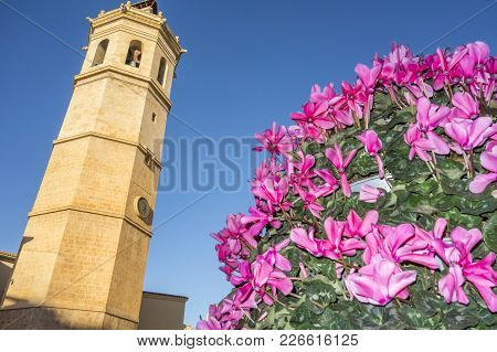 Castellon,spain-january 30,2018: Tower El Fadri,bell Tower,valencian Gothic Style.castellon,spain.