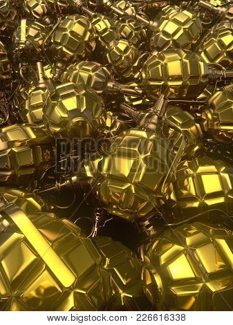 Abstract Golden Glossy Metal Hand Grenades Background. 3d Rendering