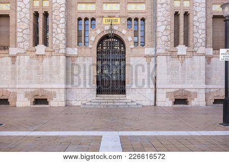 Castellon,spain-january 30,2018: Detail Facade Door Building Post,correos,modernist Style.castellon,