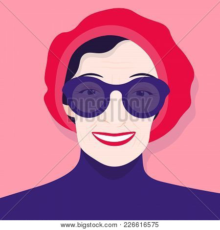 Portrait Of An Old Woman In A Beret And Sunglasses. Avatar Cheerful Pensioner. Vector Illustration