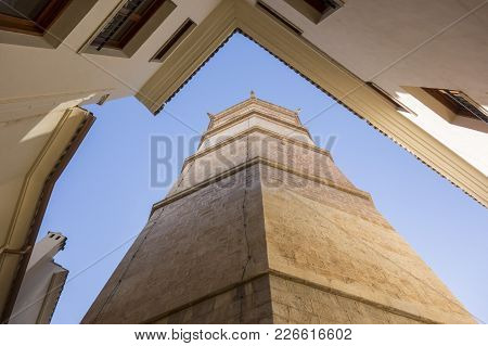 Castellon,spain-january 30,2018: Tower El Fadri,bell Tower,valencian Gothic Style, View From Below.c