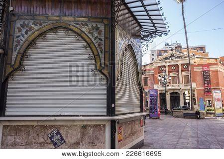 Castellon,spain-january 30,2018: Artistic Kiosk And Principal Theatre In Square,plaza De La Pax,cast
