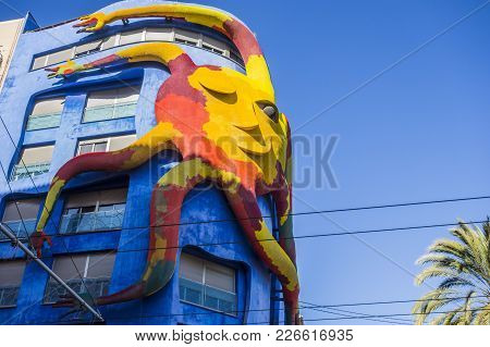 Castellon,spain-january 30,2018: Big Sculpture Sun Attached Building Of Juan Garcia Ripolles In El G