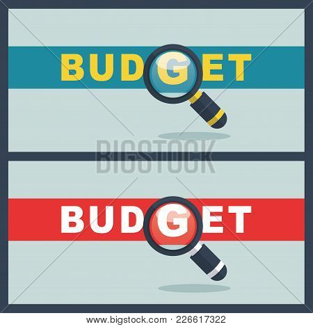 Illustration Of Budget Word With Magnifier Concept