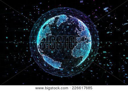 Communication Of People In A Social Network Without Boundaries. Connection Lines Around Earth Globe.
