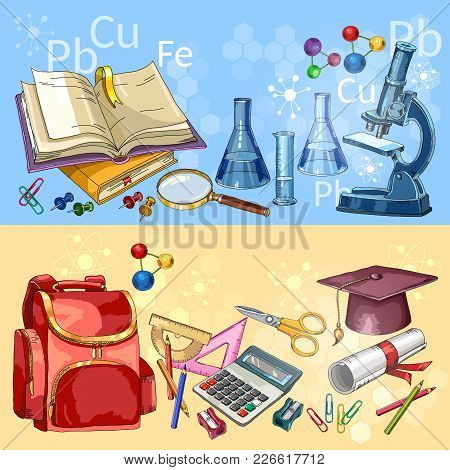 Education. Back to school banner. Open book of knowledge. Symbol of science and education. Modern education elements, tools poster