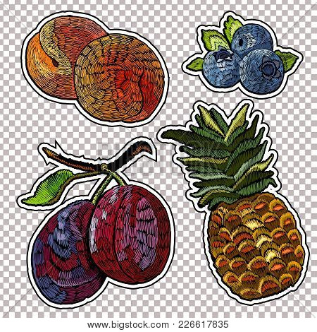 Embroidery Fruit Collection, Stickers Pineapple, Bilberry, Peaches, Plums. Embroidery Summer Fresh F
