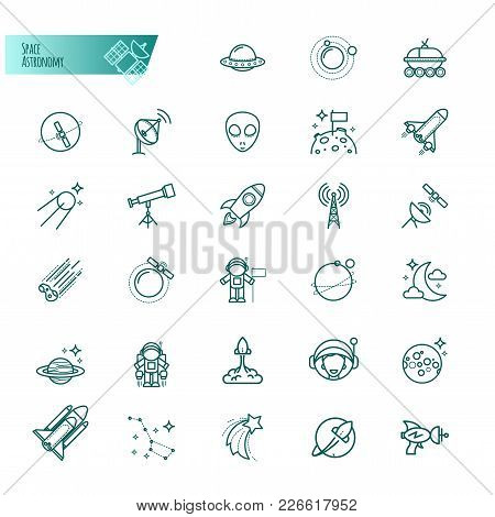 Space, Astronomy Thin Line Icons Set For Your Design