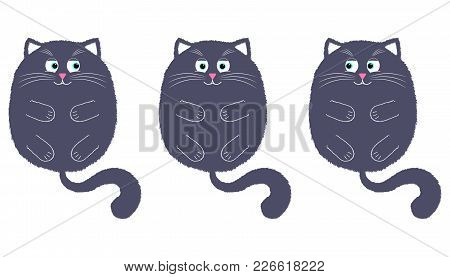 Vector Gray Cat In Cartoon Style. Funny Illustration Of Gray Kitten With Turquoise Eyes, Lying On Th
