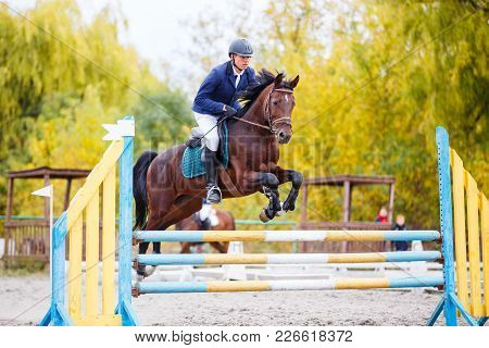 Young rider man on bay horse jumping over hurdle on show jumping competition poster