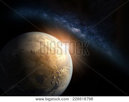 Landscape With Milky Way Galaxy. Sunrise And Earth View From Space With Milky Way Galaxy. (elements
