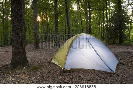 Sun Setting Through The Trees On Uwharrie National Forest Over A Tent