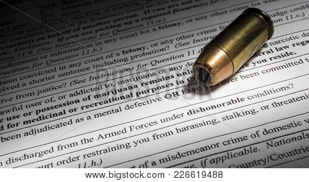 Ammo With Gun Transfer Paperwork With Dishonorable Gun Discharge Question Highlighted
