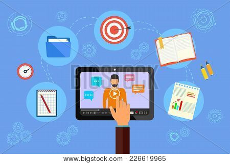 Web Conference. Online Training And Promotion Of Services On The Internet. Concept. Vector Illustrat