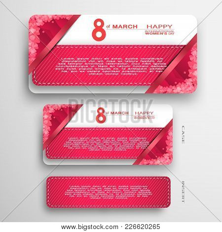 Vector Set Of Red Greeting Card For International Women's Day Insert In White And Red Case With Pock