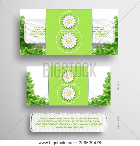 Vector Set Of Greeting Green And White Envelope With Insert For 8 Of March - International Women's D